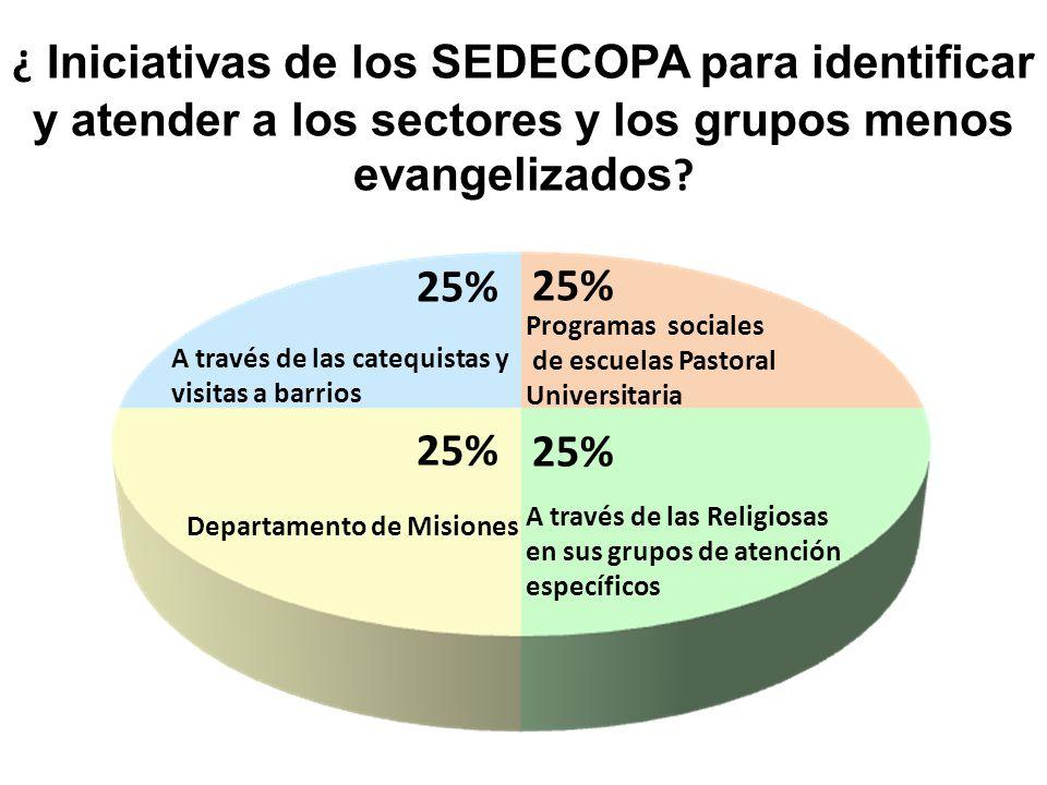 ¿ Iniciativas de los SEDECOPA para identificar y atender a los sectores y los grupos menos evangelizados