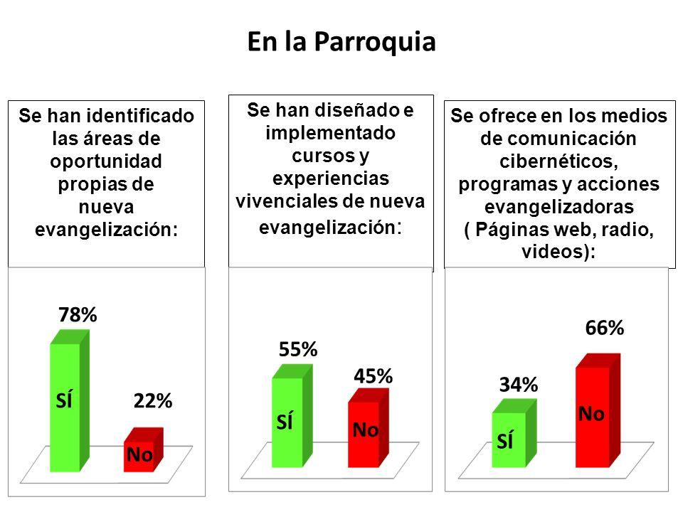 En la Parroquia 78% 66% 55% 45% 34% SÍ 22% No SÍ No SÍ No