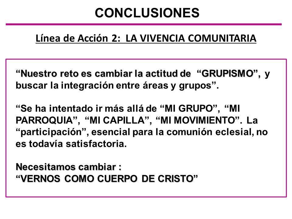 Línea de Acción 2: LA VIVENCIA COMUNITARIA