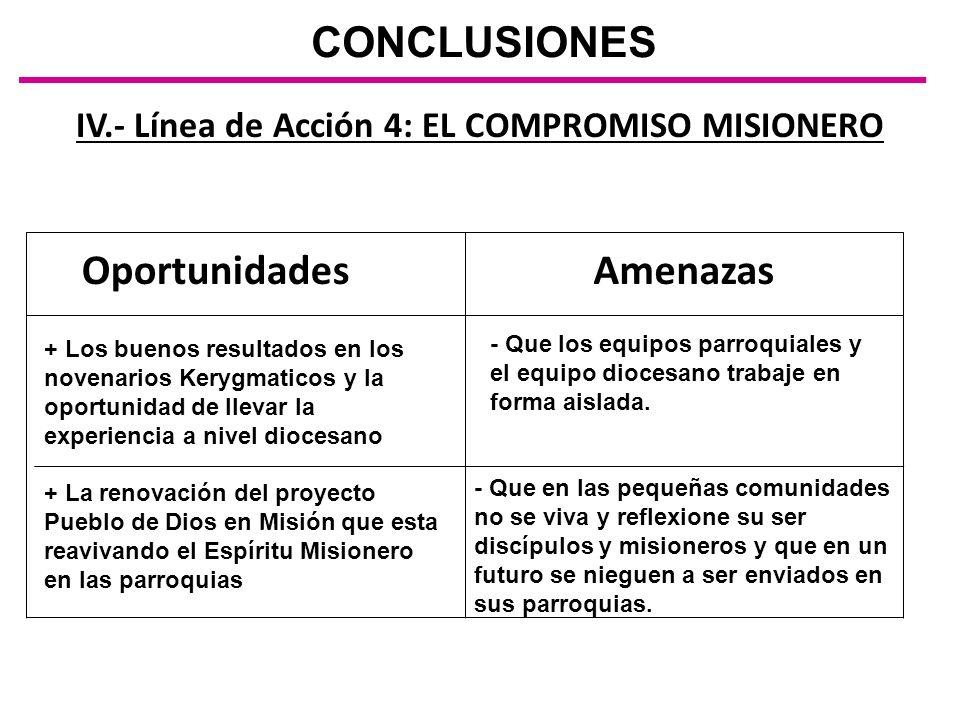 IV.- Línea de Acción 4: EL COMPROMISO MISIONERO