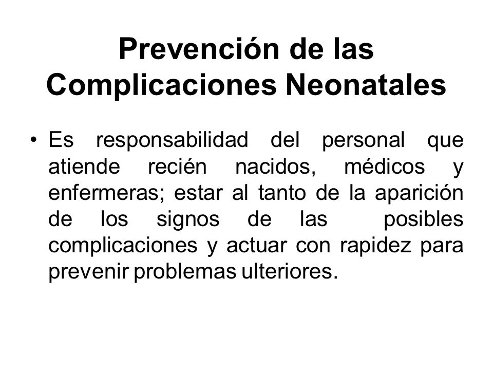 Prevención de las Complicaciones Neonatales
