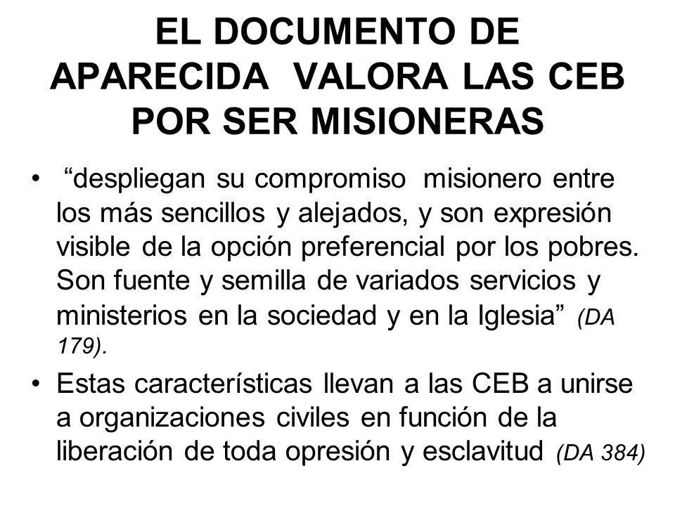 EL DOCUMENTO DE APARECIDA VALORA LAS CEB POR SER MISIONERAS