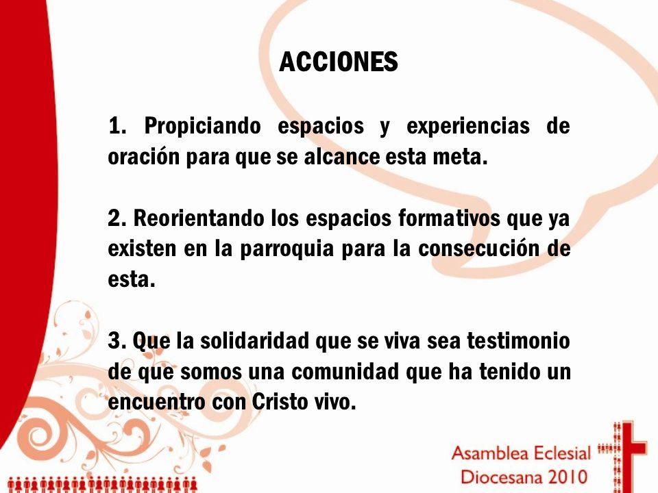 ACCIONES 1. Propiciando espacios y experiencias de oración para que se alcance esta meta.