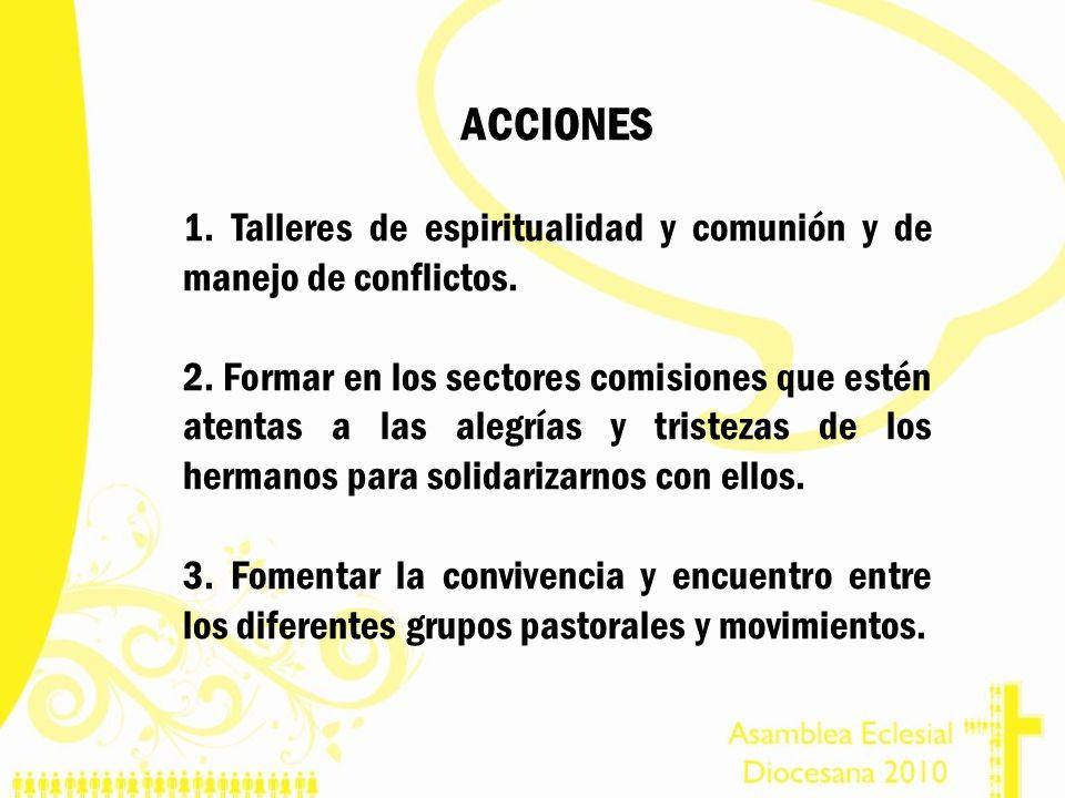 ACCIONES 1. Talleres de espiritualidad y comunión y de manejo de conflictos.