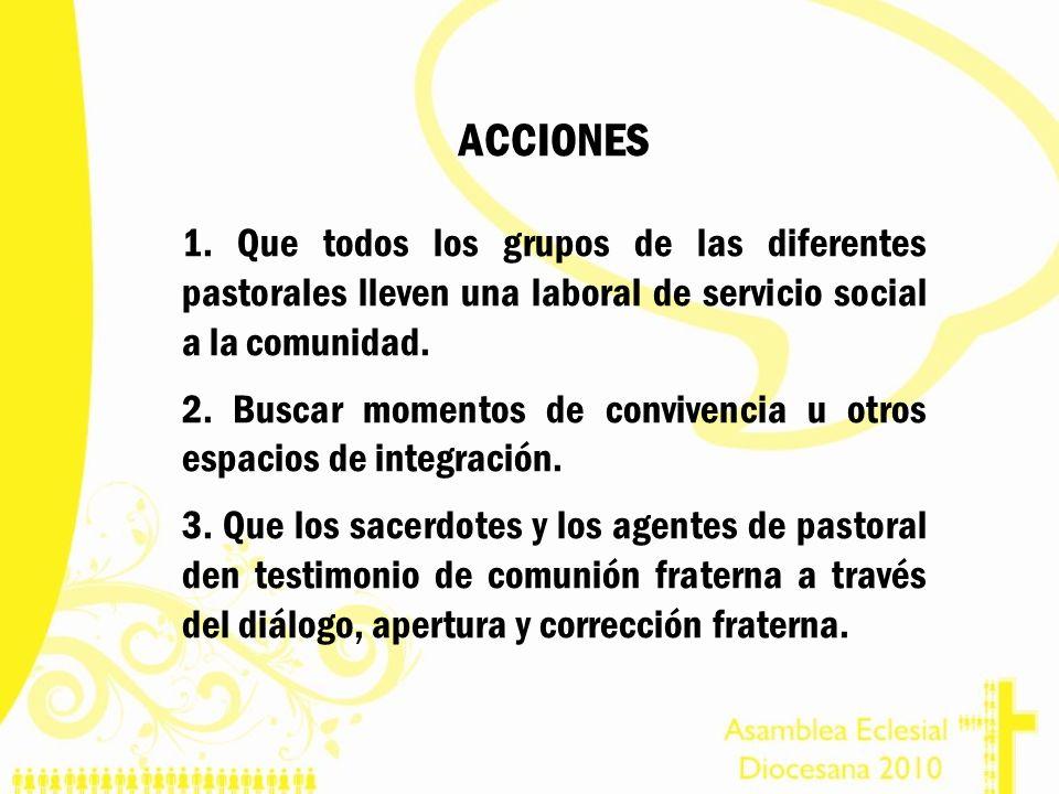 ACCIONES 1. Que todos los grupos de las diferentes pastorales lleven una laboral de servicio social a la comunidad.