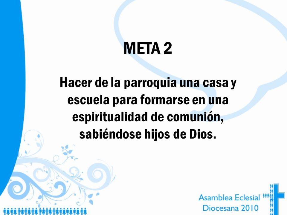META 2Hacer de la parroquia una casa y escuela para formarse en una espiritualidad de comunión, sabiéndose hijos de Dios.