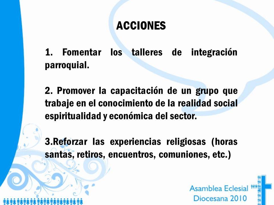ACCIONES 1. Fomentar los talleres de integración parroquial.