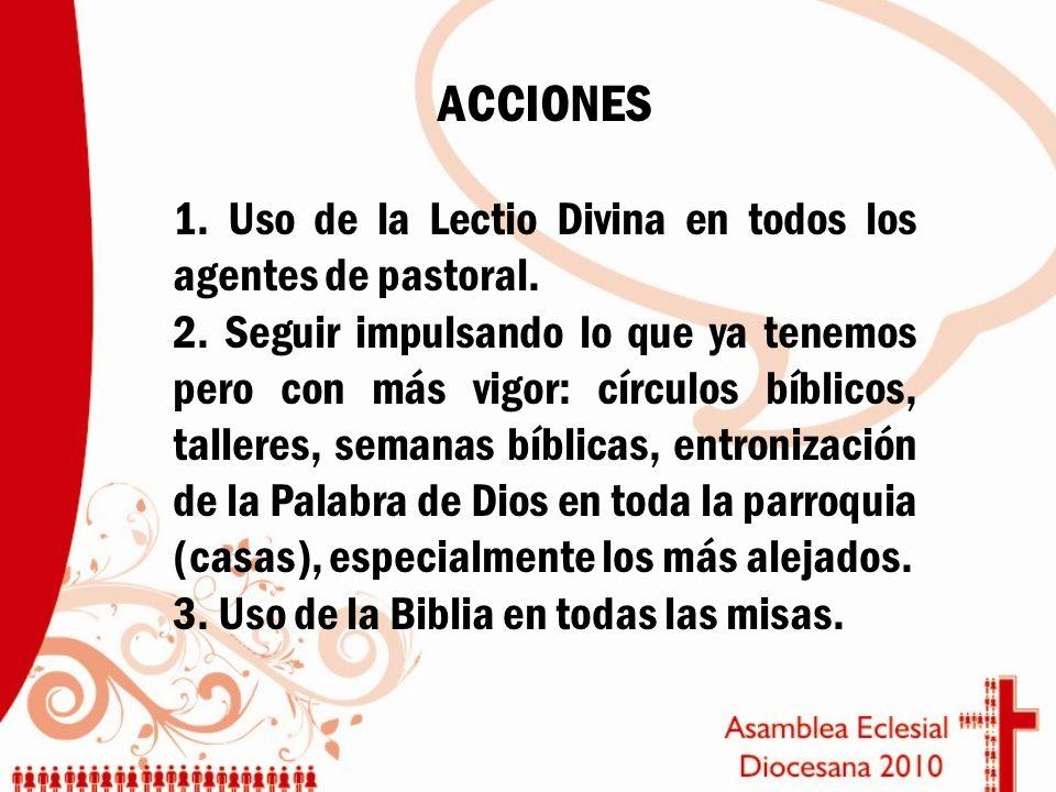 ACCIONES 1. Uso de la Lectio Divina en todos los agentes de pastoral.