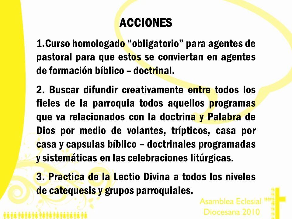 ACCIONES Curso homologado obligatorio para agentes de pastoral para que estos se conviertan en agentes de formación bíblico – doctrinal.