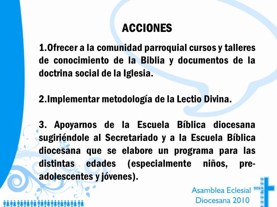 ACCIONES Ofrecer a la comunidad parroquial cursos y talleres de conocimiento de la Biblia y documentos de la doctrina social de la Iglesia.