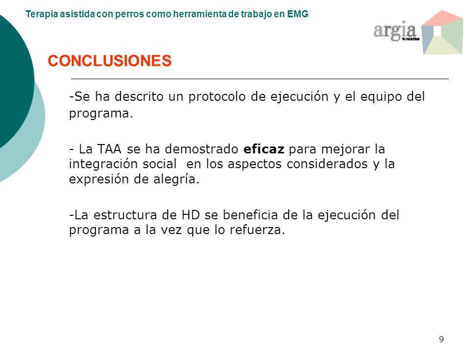 -Se ha descrito un protocolo de ejecución y el equipo del programa.