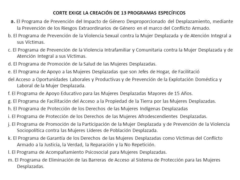 CORTE EXIGE LA CREACIÓN DE 13 PROGRAMAS ESPECÍFICOS