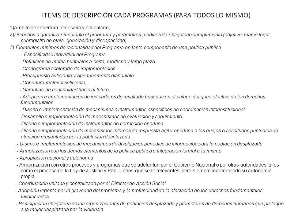 ITEMS DE DESCRIPCIÓN CADA PROGRAMAS (PARA TODOS LO MISMO)