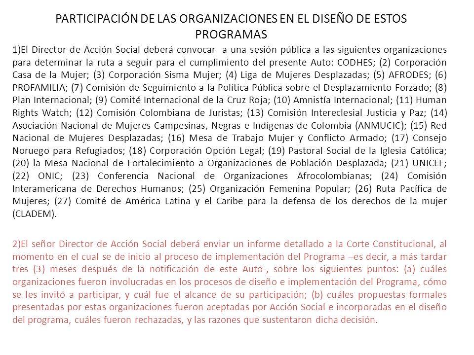 PARTICIPACIÓN DE LAS ORGANIZACIONES EN EL DISEÑO DE ESTOS PROGRAMAS