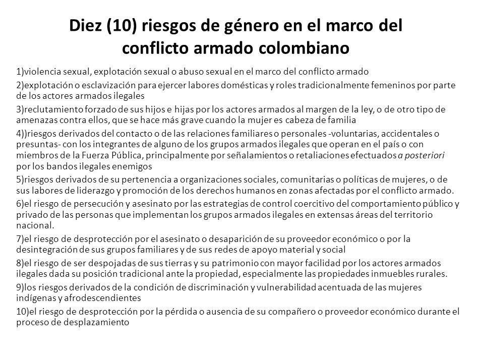Diez (10) riesgos de género en el marco del conflicto armado colombiano
