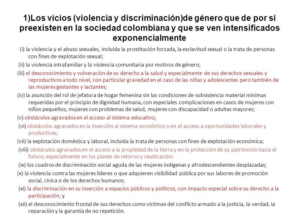 1)Los vicios (violencia y discriminación)de género que de por sí preexisten en la sociedad colombiana y que se ven intensificados exponencialmente