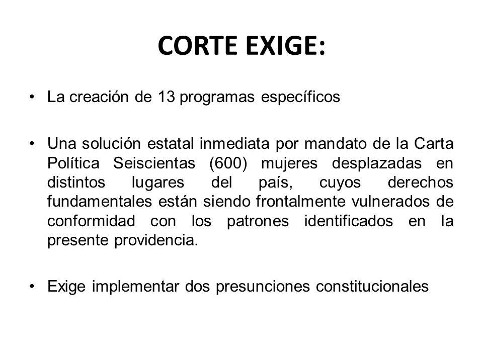 CORTE EXIGE: La creación de 13 programas específicos