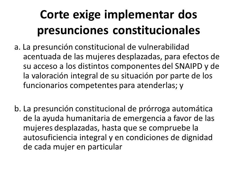 Corte exige implementar dos presunciones constitucionales