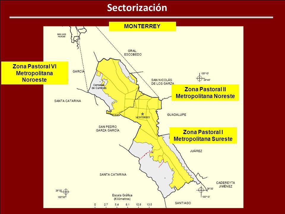 Sectorización MONTERREY Zona Pastoral VI Metropolitana Noroeste