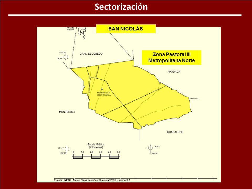 Sectorización SAN NICOLÁS Zona Pastoral III Metropolitana Norte