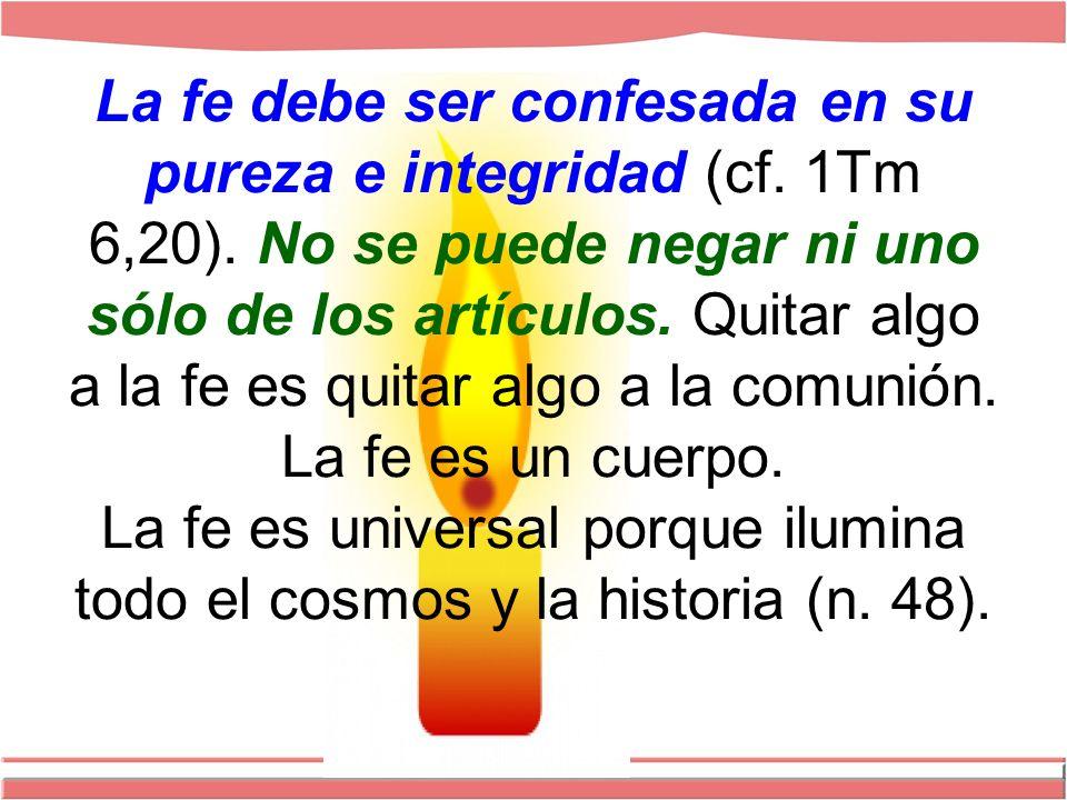 La fe debe ser confesada en su pureza e integridad (cf. 1Tm 6,20)