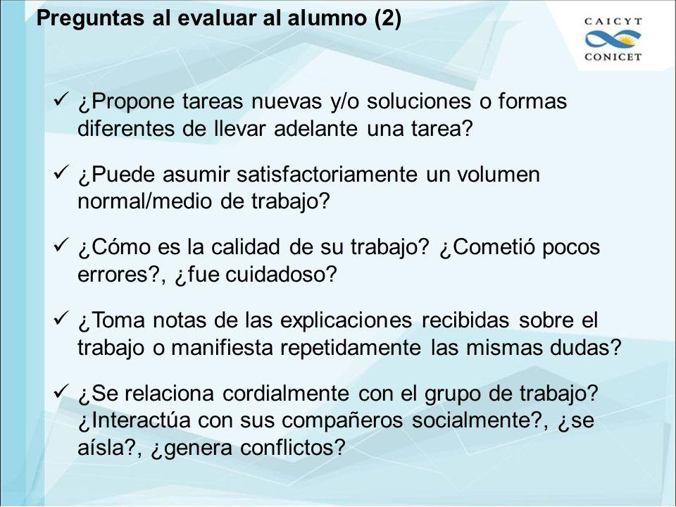 Preguntas al evaluar al alumno (2)