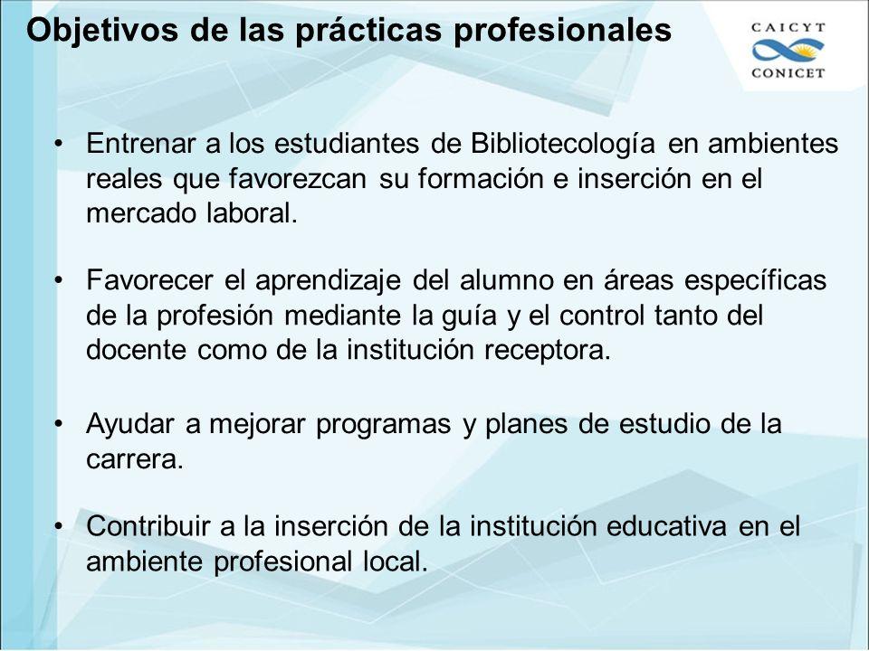 Objetivos de las prácticas profesionales
