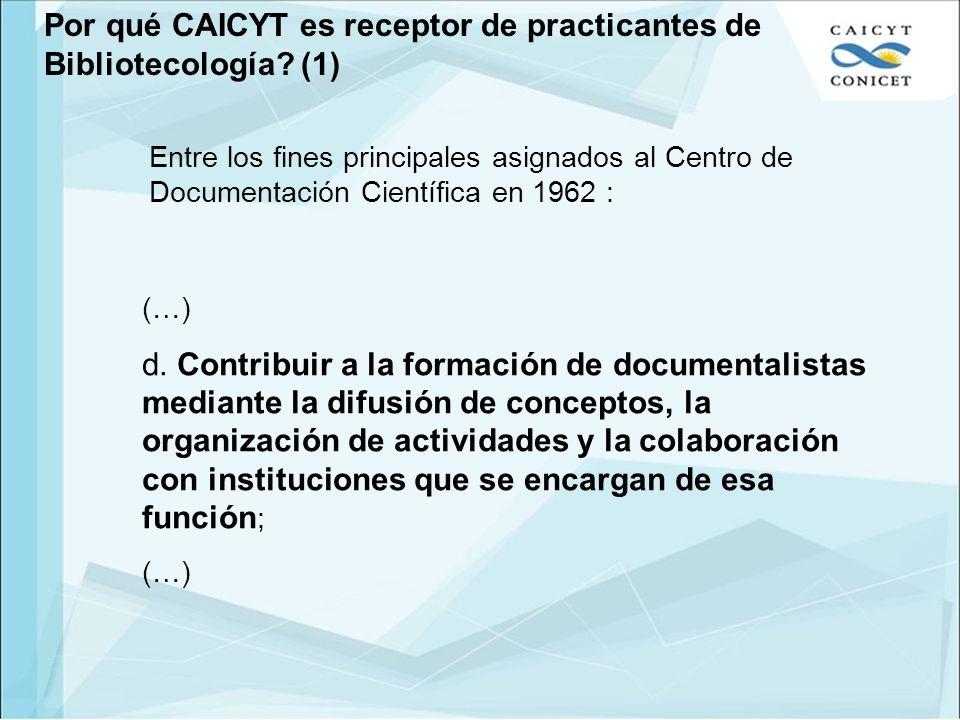 Por qué CAICYT es receptor de practicantes de Bibliotecología (1)