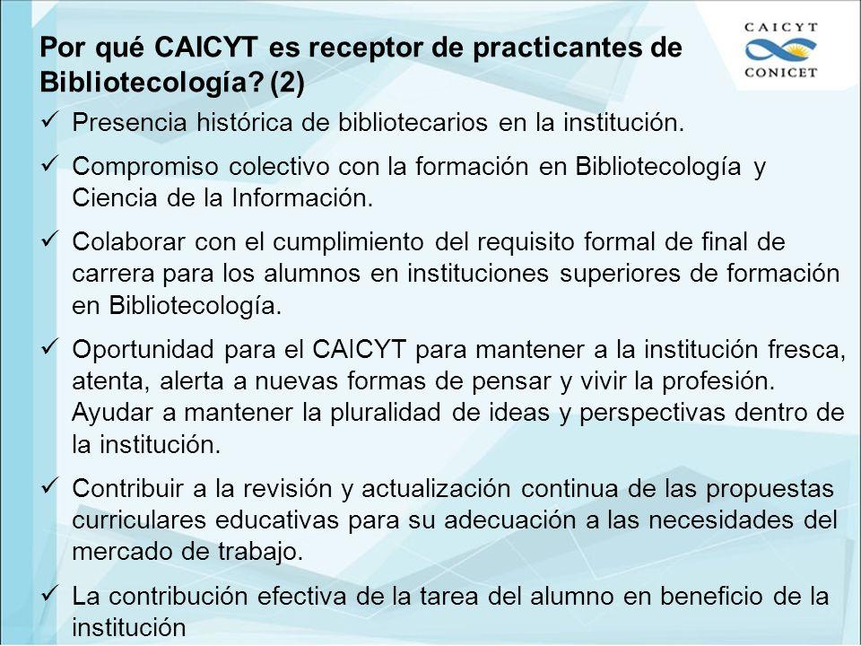 Por qué CAICYT es receptor de practicantes de Bibliotecología (2)