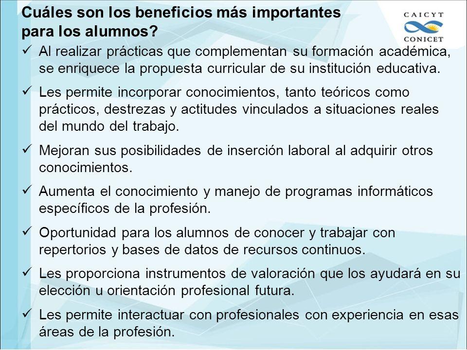 Cuáles son los beneficios más importantes para los alumnos