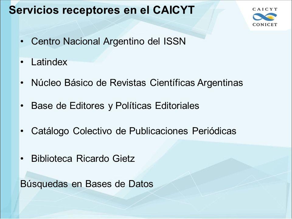 Servicios receptores en el CAICYT