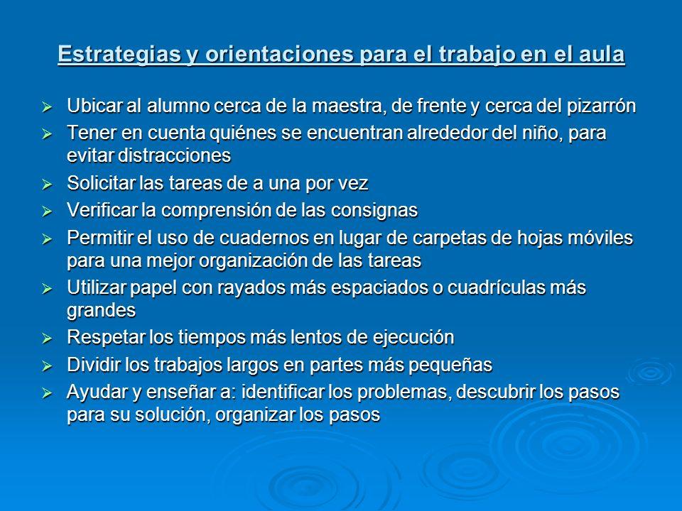 Estrategias y orientaciones para el trabajo en el aula