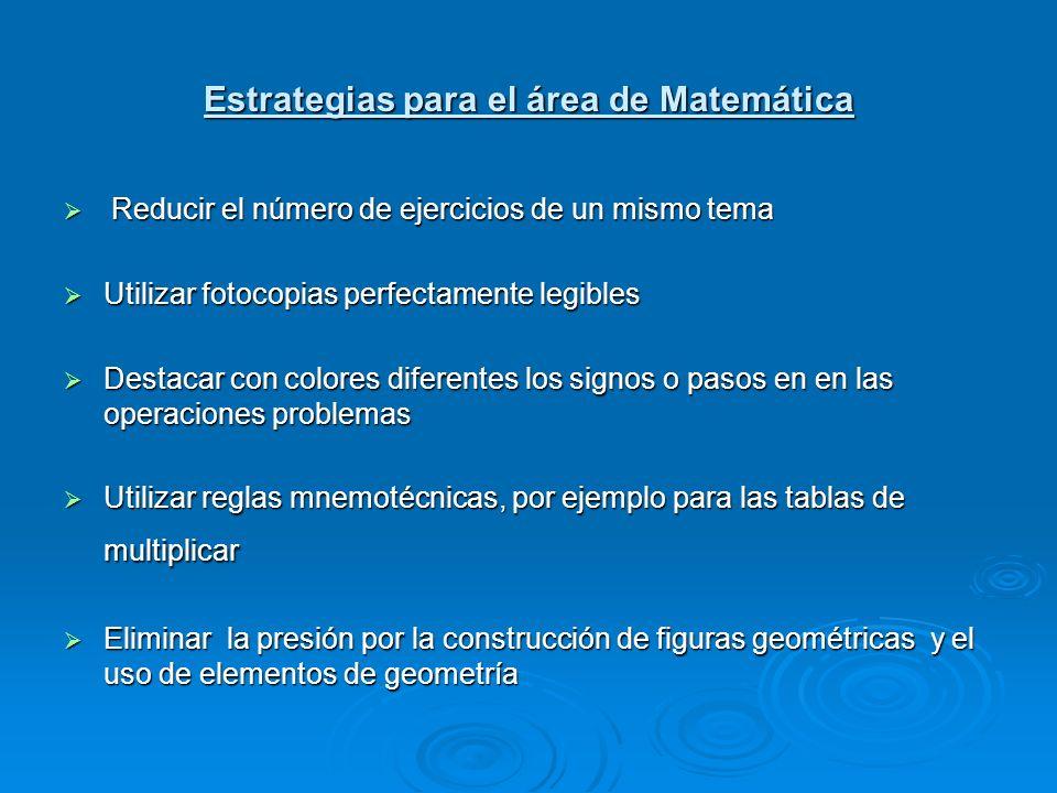 Estrategias para el área de Matemática