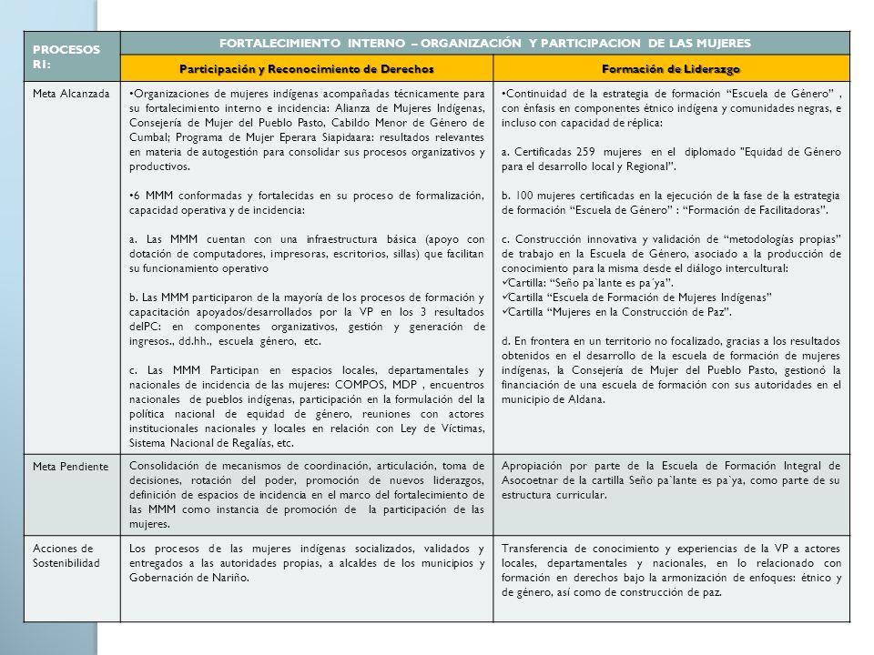 FORTALECIMIENTO INTERNO – ORGANIZACIÓN Y PARTICIPACION DE LAS MUJERES