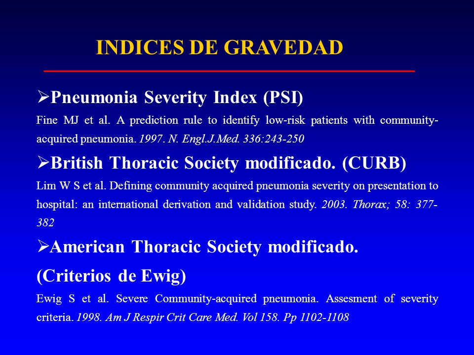 INDICES DE GRAVEDAD Pneumonia Severity Index (PSI)