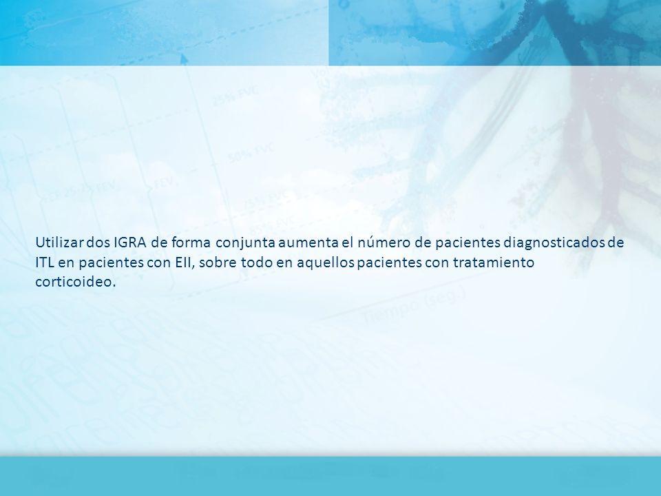 Utilizar dos IGRA de forma conjunta aumenta el número de pacientes diagnosticados de ITL en pacientes con EII, sobre todo en aquellos pacientes con tratamiento corticoideo.