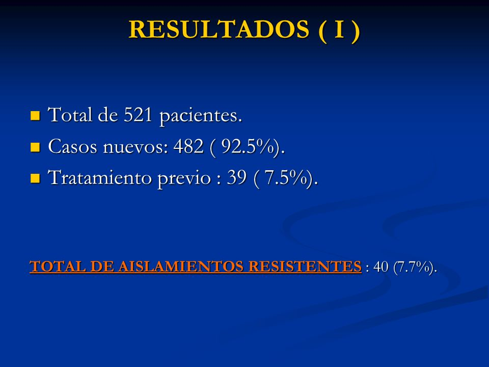 RESULTADOS ( I ) Total de 521 pacientes. Casos nuevos: 482 ( 92.5%).