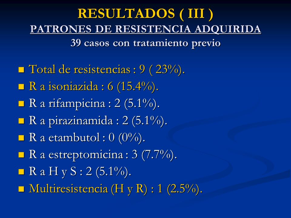 RESULTADOS ( III ) PATRONES DE RESISTENCIA ADQUIRIDA 39 casos con tratamiento previo