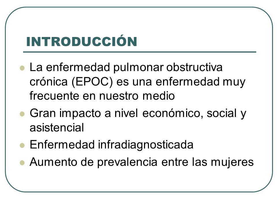 INTRODUCCIÓN La enfermedad pulmonar obstructiva crónica (EPOC) es una enfermedad muy frecuente en nuestro medio.
