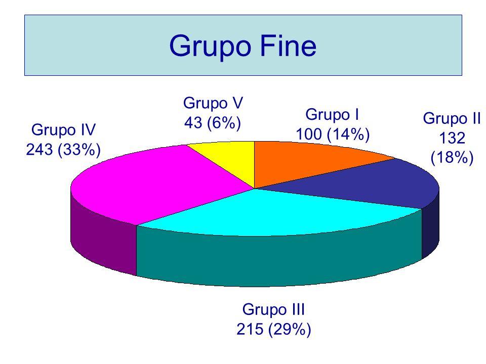Grupo Fine Grupo V 43 (6%) Grupo I Grupo II 100 (14%) 132 Grupo IV