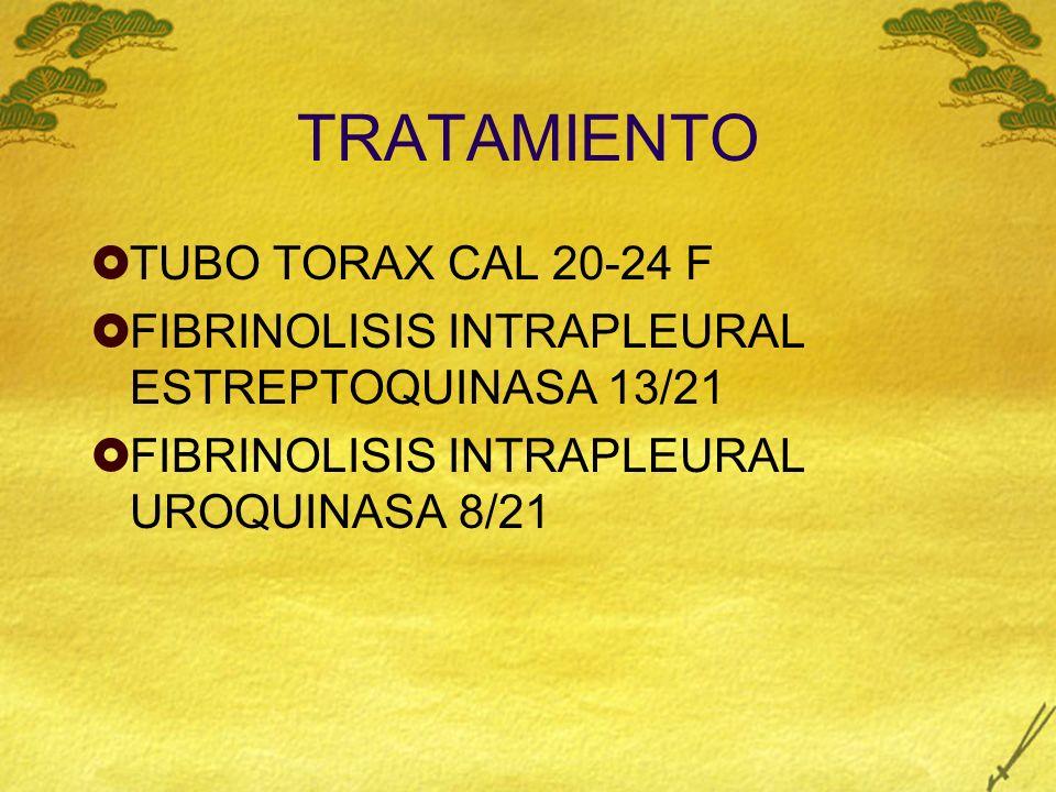 TRATAMIENTO TUBO TORAX CAL 20-24 F