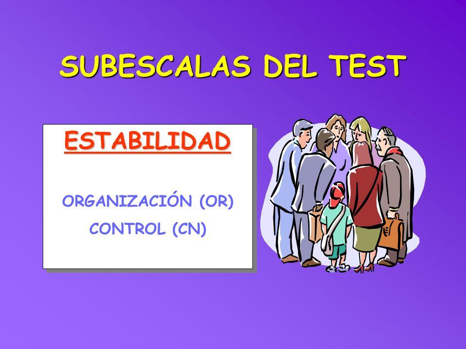 SUBESCALAS DEL TEST ESTABILIDAD ORGANIZACIÓN (OR) CONTROL (CN)
