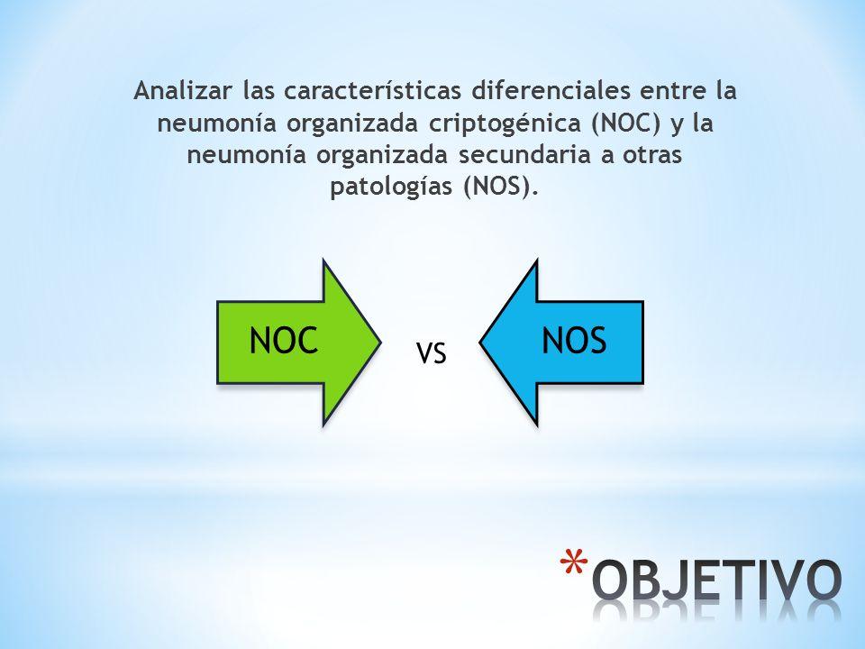 Analizar las características diferenciales entre la neumonía organizada criptogénica (NOC) y la neumonía organizada secundaria a otras patologías (NOS).