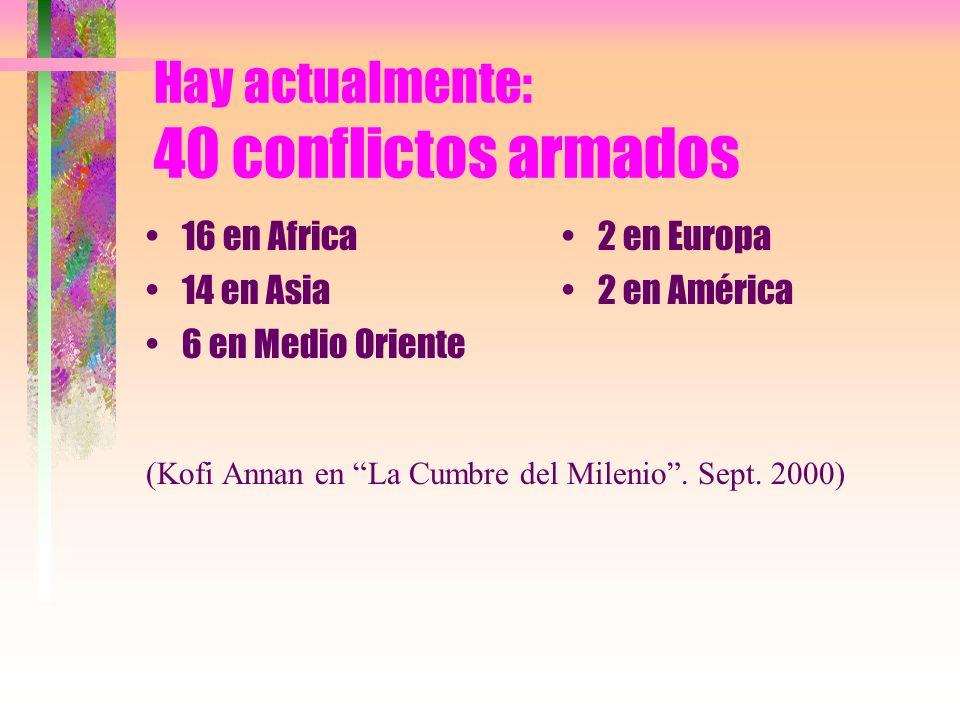 Hay actualmente: 40 conflictos armados