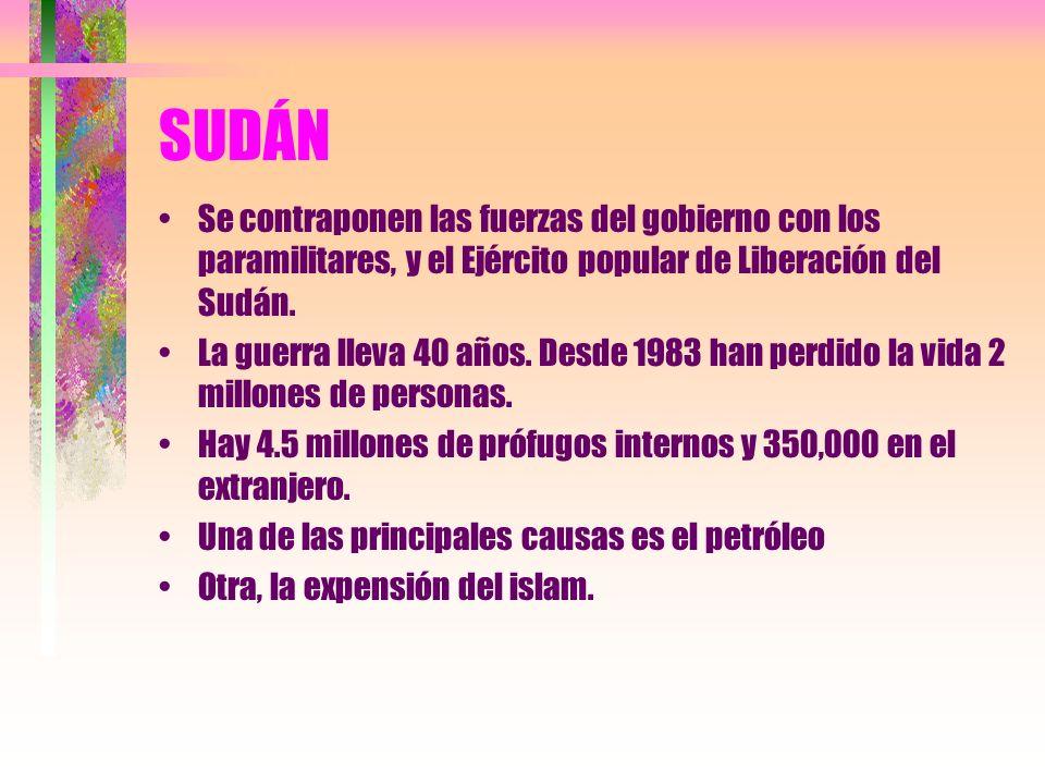 SUDÁN Se contraponen las fuerzas del gobierno con los paramilitares, y el Ejército popular de Liberación del Sudán.