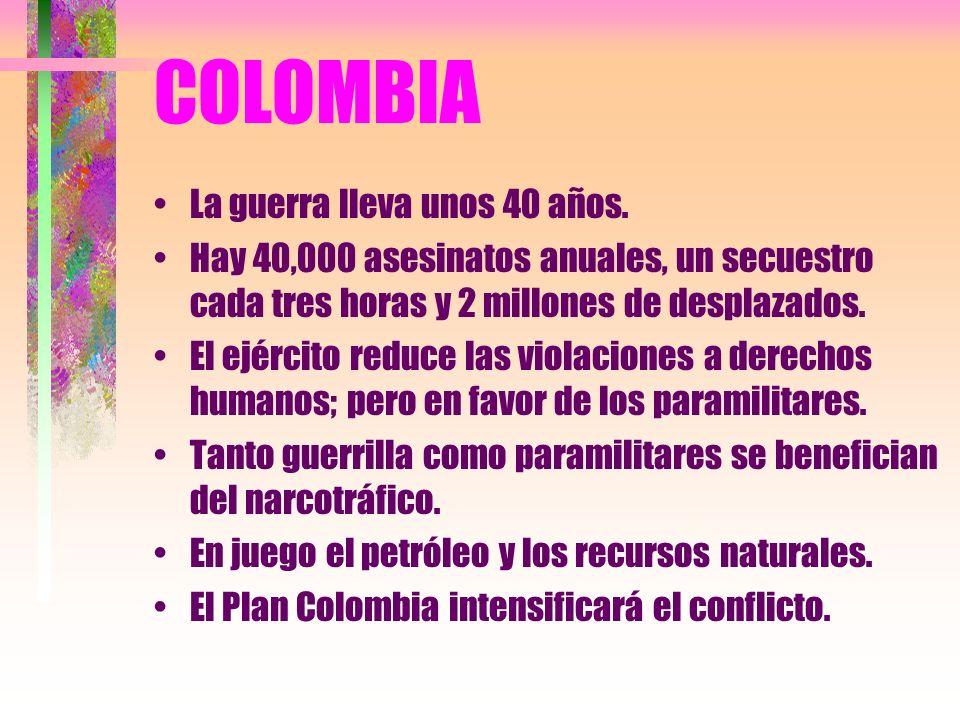 COLOMBIA La guerra lleva unos 40 años.