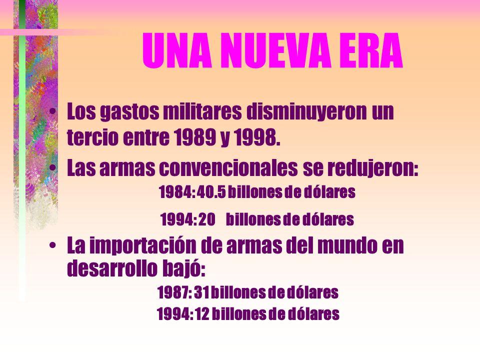 UNA NUEVA ERA Los gastos militares disminuyeron un tercio entre 1989 y 1998. Las armas convencionales se redujeron: