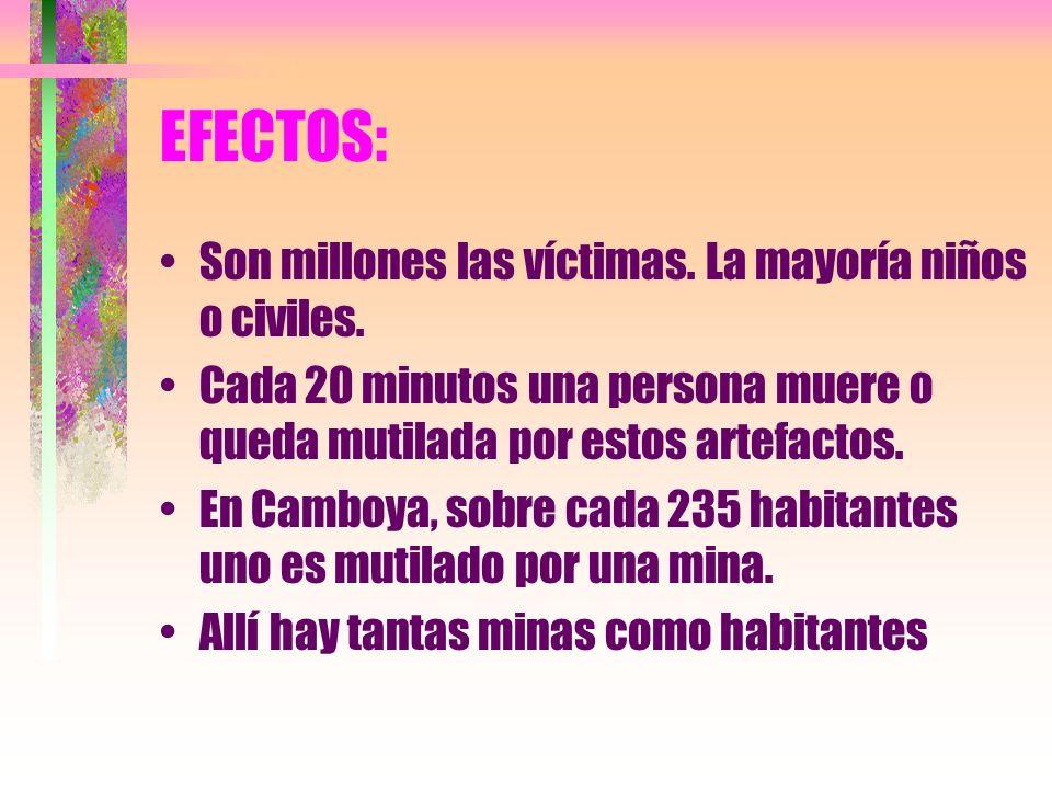EFECTOS: Son millones las víctimas. La mayoría niños o civiles.