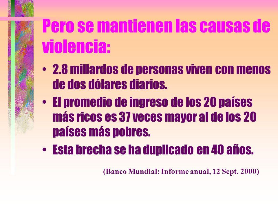 Pero se mantienen las causas de violencia: