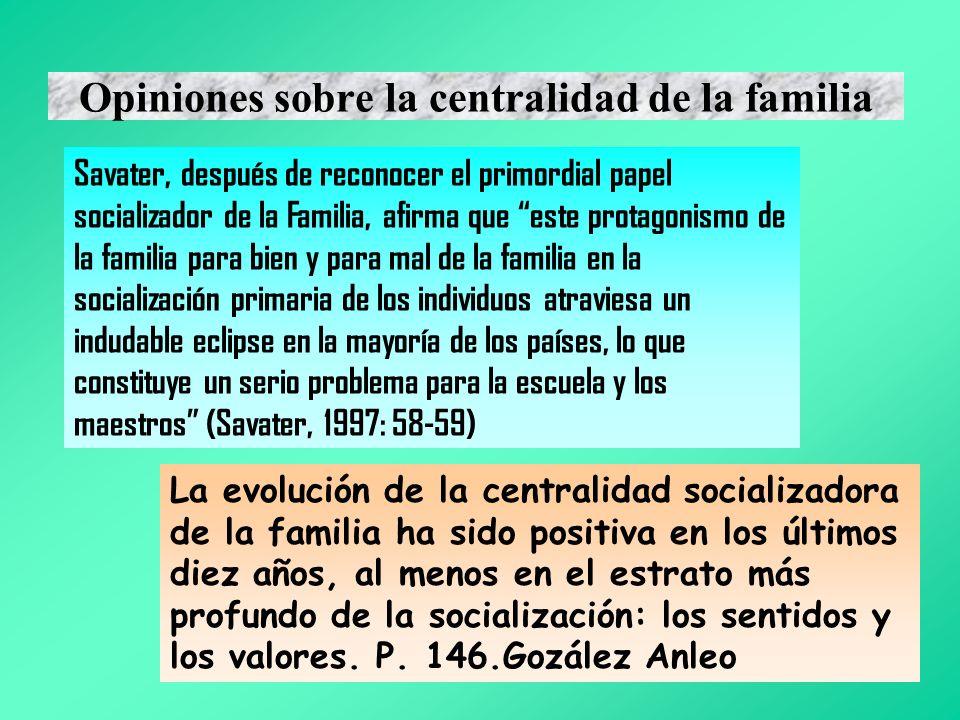 Opiniones sobre la centralidad de la familia